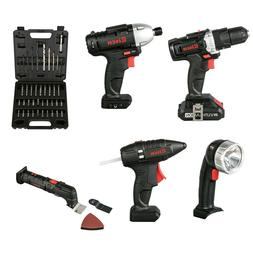 20V Cordless Combo kit Impact Drill Driver Head Flashlight G