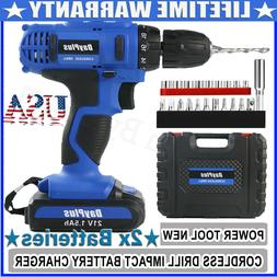 21V CORDLESS COMBI DRILL DRIVER ELECTRIC BATTERY POWER SCREW