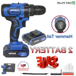 21V CORDLESS Hammer DRILL DRIVER ELECTRIC BATTERY POWER SCRE