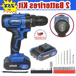 21V Max Powerful Electric Cordless Drill 2-Speed + Battery +