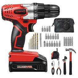 34 Pcs Household Tool and Accessories Kit Including 18V Cord