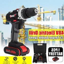 48V Cordless Drill 2 Speed Electric Screwdriver Wireless Pow