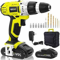CACOOP Cordless Drill Driver 20V Power Drill Kit, Drill With