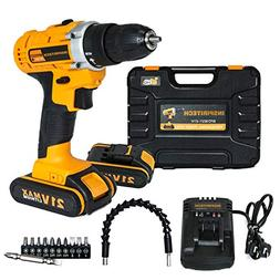 Inspiritech 21V Max Cordless Drill/Driver with 2 Lithium Ion