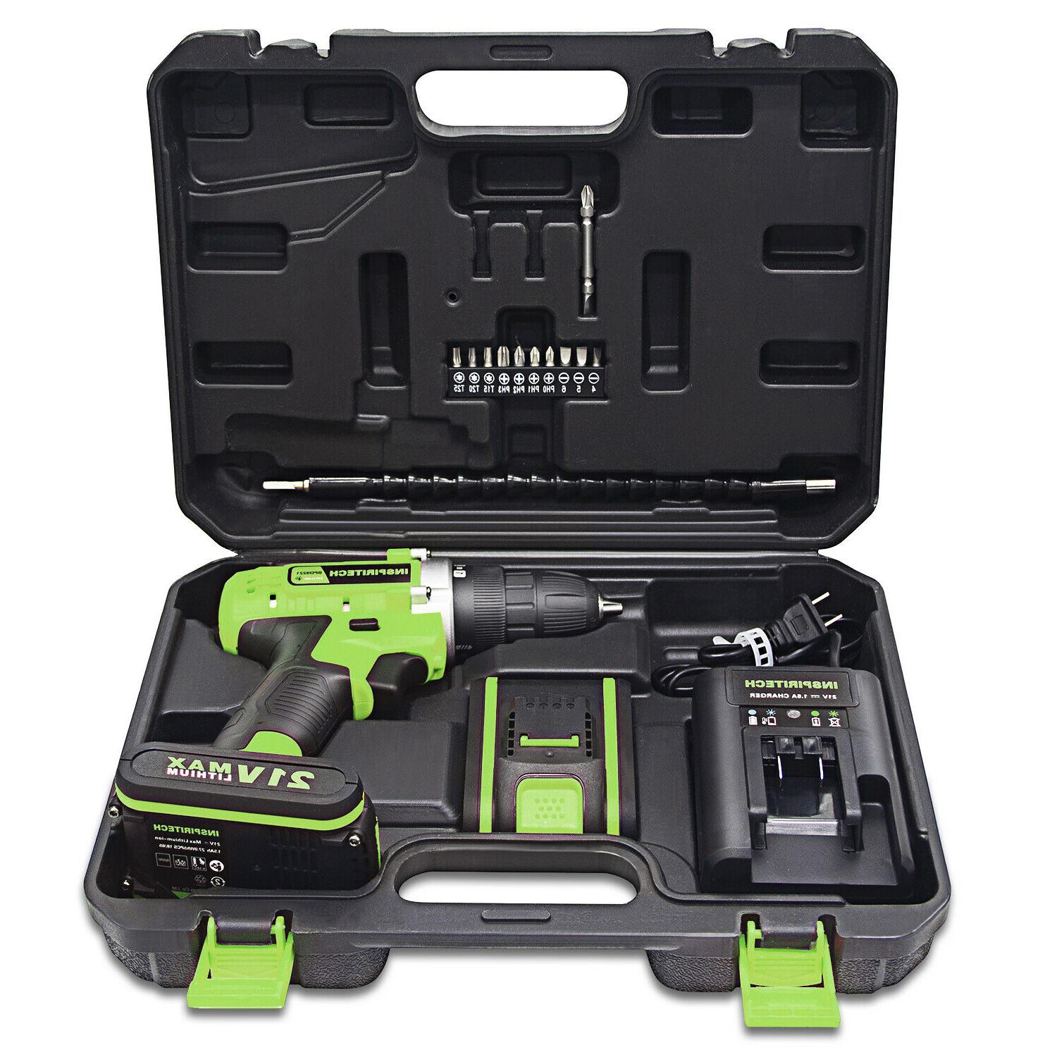 21-Volt Electric Drill/Driver with Bits & Batteries
