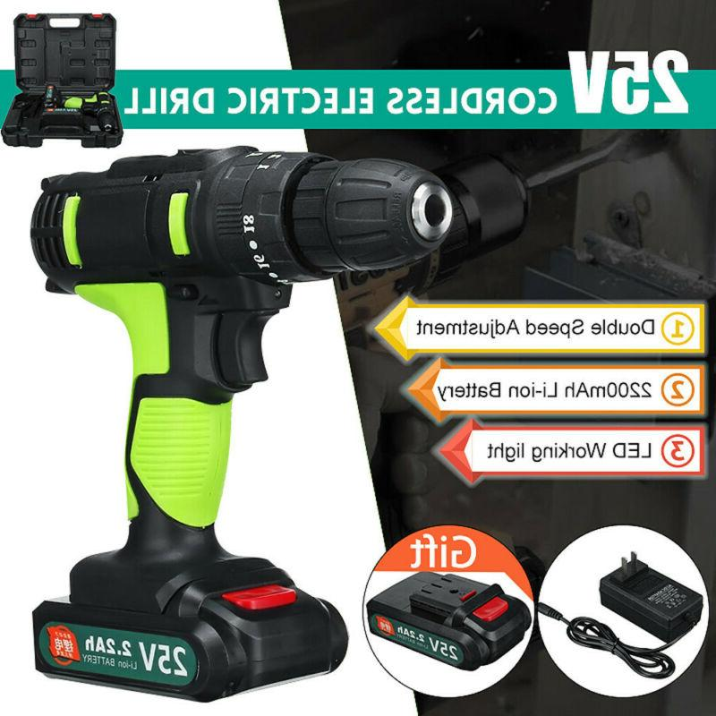 Electric Cordless Drill Tool Kit, 2 Li-Ion Battery Set with