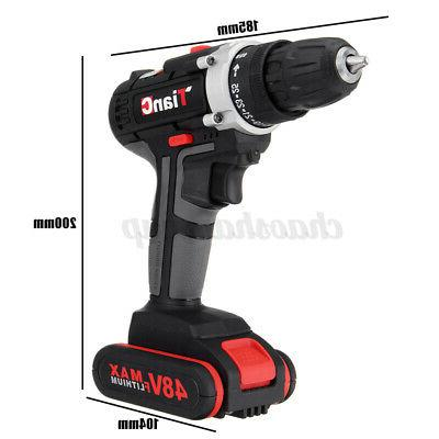 48V Cordless Drill Speed Electric Wireless Power