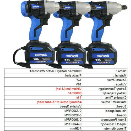 6000mAh Battery 1/2'' Electric Cordless Wrench High