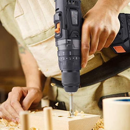 Cordless Drill with Hammer Action Metal Chuck 2-Speed Max Torque 310 and LED,