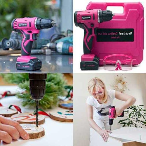pink cordless drill set electric screwdriver power