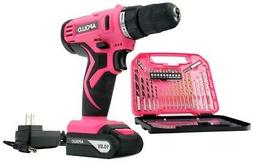 Pink Woman Wife Girls Home Power Tools Cordless Drill Set Bi