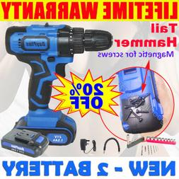 21V Drill 2Speed Electric Cordless Drills Driver with Bits S